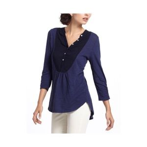 Meadow Rue Navy Blue Slubby Ruched Henley T-Shirt